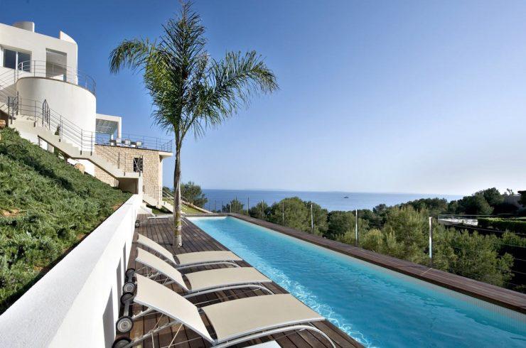 Ibiza Mietvilla Vermietung Panoramablick auf Meer